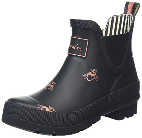 Black Rubber Rain Boots (Joules Womens Wellibob Black Love Bees Rubber Boots 7 US)