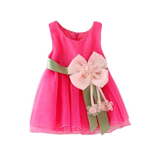 Baby Girls Princess Pink Dress With Belt - 6