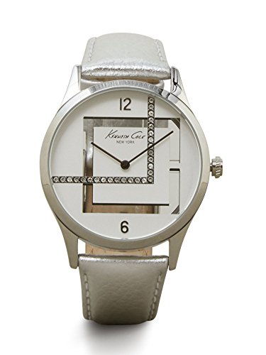 Kenneth Cole New York Women's Silvertone Watch With Metallic Leather Strap