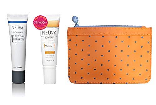 Neova Reveal Exfoliator (20% Glycolic) 2.0 oz + Neova DNA Damage Control Silc Sheer 2.0 SPF 40 (2.5 oz) + Cosmetic Bag