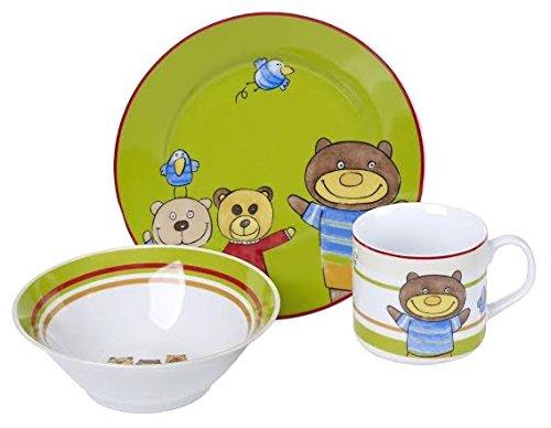 Cucina Italiana Porcelain Kids Plates Children Dinnerware 3 Piece Set (Teddy Bear Print)