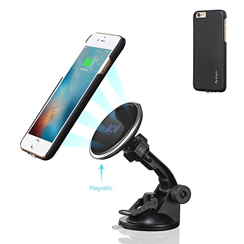 Antye Magnetic Qi Wireless Car Mount Charger Dock for iPhone 6 Plus /6S Plus, Includes Qi Wireless Charging Receiver Case [Matte Finish, Flexible] and Dashboard Cradle Suction Cup Holder, Black