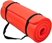 BalanceFrom GoCloud All-Purpose 1-Inch Extra Thick High Density Anti-Tear Exercise Yoga Mat with Carrying Stra