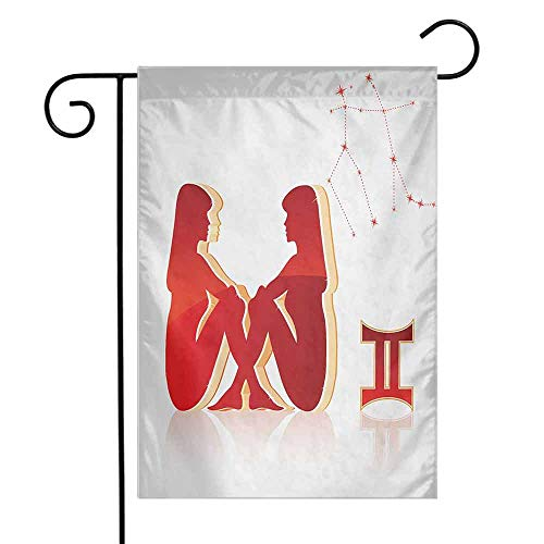Zodiac Gemini Garden Flag Abstract Vibrant Women Sitting Silhouettes and Constellation Decorative Flags for Garden Yard Lawn W12 x L18 Vermilion and Pale Peach