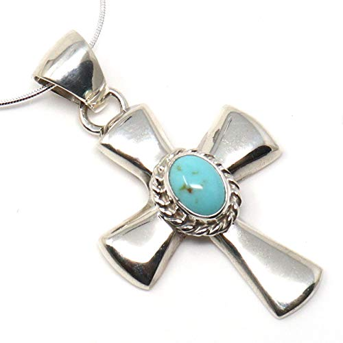 (L7 Trading Sterling Silver Turquoise Cross Pendant)