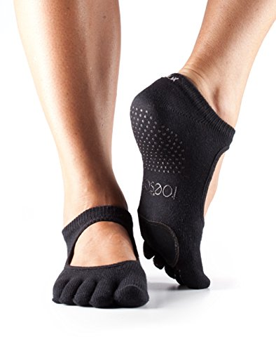 ToeSox Women's Plie Full Toe Grip for Yoga, Pilates, Barre, Dance, Toe Socks With LEATHER PAD (Black) Medium
