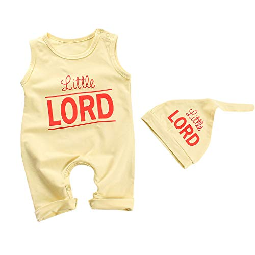 2Pcs Baby Girl Boy Clothes Letter Print Bodysuit Cotton Sleevesless Romper +Hat Outfits Set Yellow ()