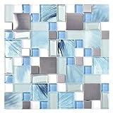 Sea Blue Green Glass Stainless Steel Tile White Kitchen Bath Backsplash Artistic Mosaic TSTMGB028 (1 Sample 12x12 Inches)
