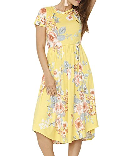Foshow Womens Short Sleeve Dresses Floral Empire Waist Midi Vintage Summer Dress with Pockets Yellow]()