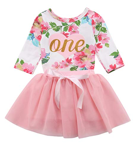 yannzi Baby Girls' 1st Birthday Tutu Dress Sleeveless Floral Romper Top Lace Skirt Clothes Easter Outfit 2Pcs (Long Sleeve, 12-18 Months)