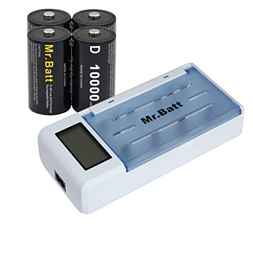 Mr.Batt Universal AA Battery Charger (Overheat Protection funtion) for AA AAA C D 9V Rechargeable Batteries with D Size Rechargeable Batteries (4 Pack)