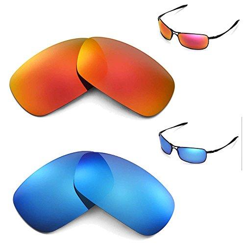 Walleva Polarized Fire Red + Ice Blue Lenses For Oakley Crosshair 2.0 (2010 - Lenses Replacement 2.0 Polarized Crosshair Oakley