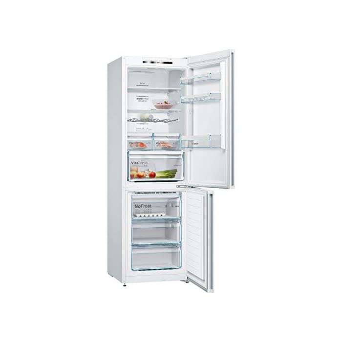 41i Zv8y3lL Haz clic aquí para comprobar si este producto es compatible con tu modelo Organiza tu compra y conserva los alimentos frescos durante más tiempo gracias al frigorífico Bosch KGN36VW3A con nevera de 324l y congelador de 87l. Su tecnología No Frost evitará que se forme escarcha en el congelador, por lo que ahorrarás tiempo y esfuerzo en su mantenimiento.