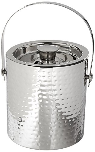Elegance Hammered 6-Inch Stainless Steel Ice Bucket With Tongs by Elegance