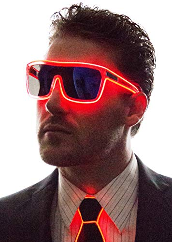(Neon Nightlife Red Frame/Tinted Single Lens Tron Style Light Up Glasses)