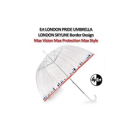 ERT Londres orgullo claro cúpula paraguas de longitud completa contemporáneo Tricolor Londres Skyline diseño de bordes