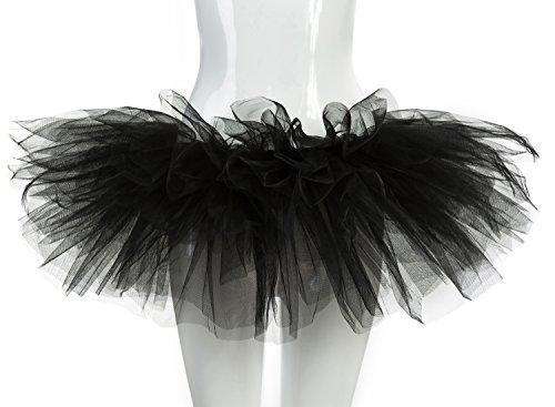 [belababy Women's Tutu Classic 5 Layered Tulle Dress Up Skirt Black One Size] (Black Tutu Halloween Costume)