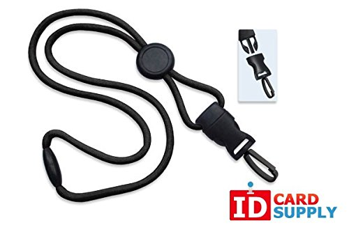 100 - Black Lanyards with Breakaway 1/4 (6mm) Strap and DTACH Plastic Swivel Hook ending [ 2135-4581 ] -