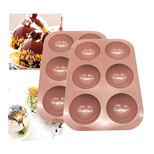 2Pack Bakeware Sets,Medium Semi Sphere Silicone Mold,Baking Mold for Making Hot Chocolate Bomb, Cake, Jelly, Dome Mousse, Healthy lifestyle, Caramel