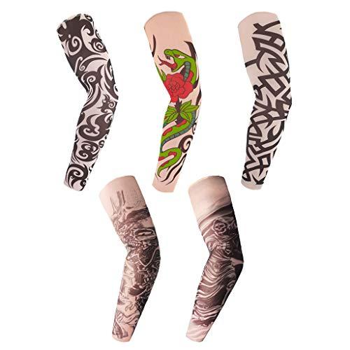 (Arts Fake Temporary Tattoo Arm Sleeves Hosamtel UV Sun Protection Sunscreen Skull Snake Design for Adults Women Men Boys Girls)