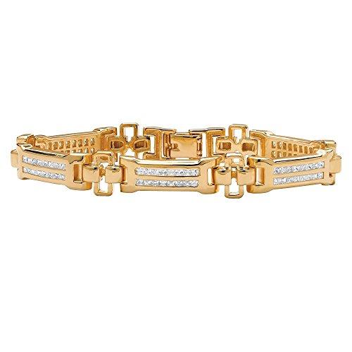 Men's White Cubic Zirconia 18k Gold-Plated Channel-Set Bar-Link Bracelet 8