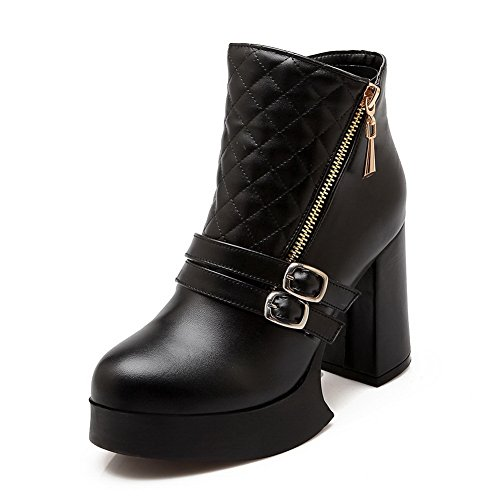 A&N Girls Chunky Heels Buckle Platform Imitated Leather Boots Black