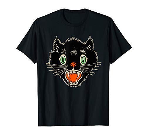 Vintage Halloween Scary Black Cat Horror Gift T-Shirt ()