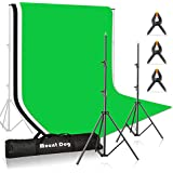MOUNTDOG Photo Backdrop Stand Kit 10x6.5ft Background Stand Support System with 3 Muslin Backdrop Kits(White/Black/Chromakey Green Screen Kit) and Carry Bag for Portrait,Photo Video,Photography Studio
