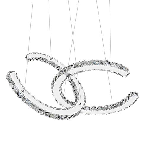 Antilisha Modern Chandelier Lighting Ceiling Girls Bed-Room Crystal Chandeliers Led Lighting Fixtures Small Medium Size 2 C Ring Pendant Lights for Bath-Room Entry-Way Bedroom Cool White
