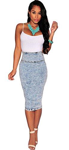 Jupe Denim Grand Taille Taille Jupe Crayone mi De Mini Blansdi Bleu Haute Jupe longue Paquet En Fit Bleu Hanche Jupe Slim n1tP7