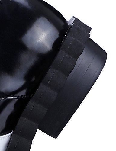 NJX/ hug Damenschuhe-High Heels / Stiefel-Outddor / Büro-Leder / Lackleder-Blockabsatz-Rundeschuh / Modische Stiefel-Schwarz black-us8 / eu39 / uk6 / cn39