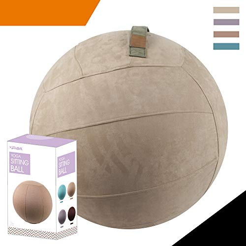 Balance Basic - Sport Shiny Gym Basic Balance Ball Chair Cover,Universal Compatible Exercise Yoga Ball Cover,65cm Size,Faux Suede,Beaver