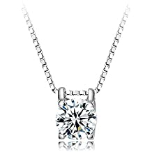 FENDINA Womens Jewelry Elegant Solitaire Cubic Zirconia Studded Pendant Necklace for Her - 18K White Gold Plated - Luxurious Series-FR624