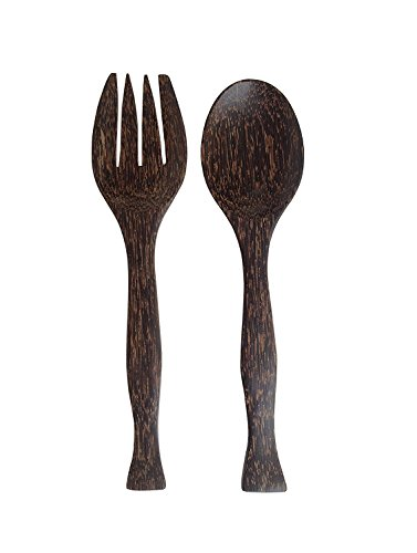 Wood For Décor Wooden Fork And Spoon Toddy Balm Salad Tool Set Big Natural Back Color Set of A Spoon and A Fork L11.2 x W1.5 x H 0.6 Inches (And Spoon Large Fork Decorative)