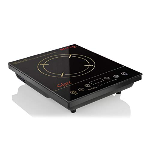 McCoy Glare – 2000-Watt Induction Cooktop with 10 Preset Function, High Quality Crystal Glass (Black)