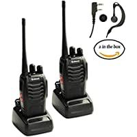 Galwad 2PCS 400-470 MHz Galwad Walkie Talkie Two Way Radio Rechargeable Long Range Headset Headphone Built in LED Torch Galwad-888s(pack of 2)