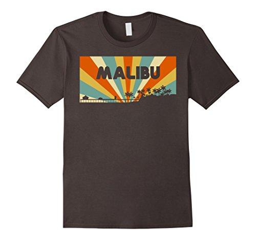 Mens Malibu City Vintage T-Shirt Retro Malibu Beach California CA Small Asphalt (Beach Mens Vintage T-shirt)