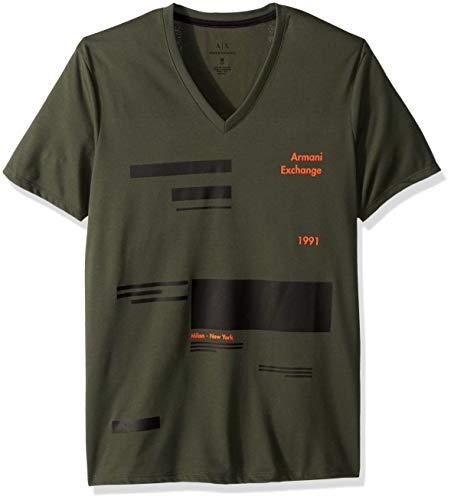 A|X Armani Exchange Men's Short-Sleeve Offset Stripe V-Neck T-Shirt, Climbing Ivy, M - T-shirts Mens Green Armani