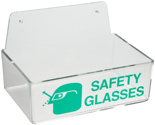 Brady Safety Glasses Holder - Green Text on Clear Plastic, Legend