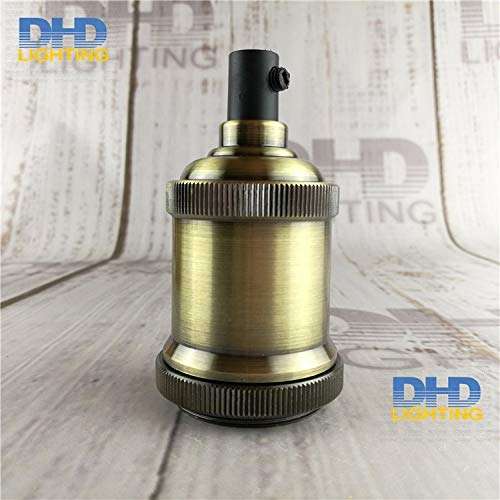 Lamp Base - 4 colors E27 lighting socket DIY vintage iron pendant lamp accessories industrial aluminum ceramic lamp holder - (Color: antique brass, Base Type: 10units) by Kamas (Image #3)