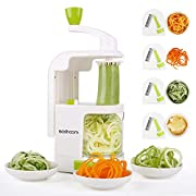 #LightningDeal Spiralizer 4-Blade Vegetable Spiralizer Sedhoom Heavy Duty Spiral Slicer Zucchini Noodle & Veggie Pasta & Spaghetti Maker for Low Carb/Paleo/Gluten-Free Meals/Salad