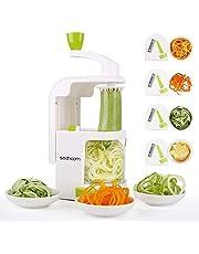 Spiralizer 4-Blade Vegetable Spiralizer Sedhoom Heavy Duty Spiral Slicer Zucchini Noodle & Veggie Pasta & Spaghetti Maker for Low Carb/Paleo/Gluten-Free Meals/Salad