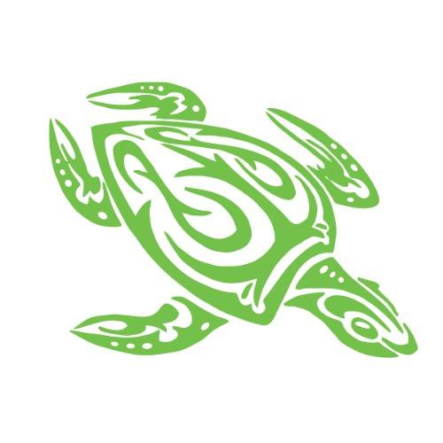 Sea Monster Green - Sea Turtle Tribal Water Monster Vinyl Window Decal Sticker Honu Lime Green