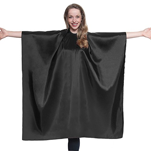 Black Iridescent Salon Cape with snaps Professional Quality 45 inch X 60 inch Heavy Duty Material Extra Long Durability For Barbershop and Beauty Shop Use Long Lasting and Specialized (BLACK)