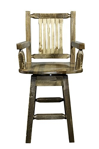 Montana Woodworks MWHCBSWSCASSL Homestead Collection Captain's Barstool with Back & Swivel, Stain & Lacquer Finish