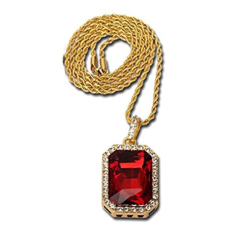 14K Gold Plate Iced Out Hip Hop Ruby Red Gem Jewelry, Bling Bling Pendant Necklace for Men 30