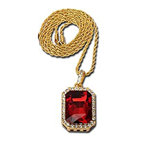 """14K Gold Plate Iced Out Hip Hop Ruby Red Gem Jewelry, Bling Bling Pendant Necklace for Men 30"""" Chain Included"""