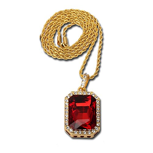 "14K Gold Plate Iced Out Hip Hop Ruby Red Gem Jewelry, Bling Bling Pendant Necklace for Men 30"" Chain Included"