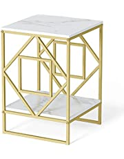 Bedside Table Simple Solid Wood Cabinet Light luxu Loft Marble Table Square Marble Effect End Table Coffee Lamp Bedside w Gold Legs