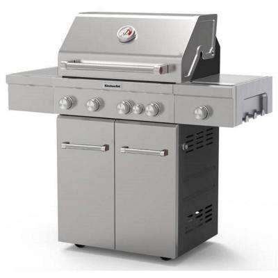 Charmant KitchenAid 4 Burner Propane Gas Grill In Stainless Steel With Ceramic  Searing Side Burner And